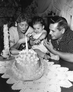 Lucille Ball, Desi Arnaz and baby Lucie on her first BirthdayJuly 1952Photo by Gabi Rona - Image 0069_2217