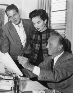 "Paul Newman with Ann Blyth and director Michael Curtiz reading some research notes on the roaring twenties during filming of ""The Helen Morgan Story""1957Photo by Mac Julian - Image 0070_0180"
