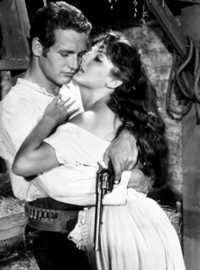 """Paul Newman and Lita Milan in""""The Left Handed Gun,"""" 1958.Photo by Floyd McCarty - Image 0070_0182"""