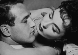 """Paul Newman and Ann Blyth in""""The Helen Morgan Story,"""" 1957.Photo by Bert Six - Image 0070_0183"""
