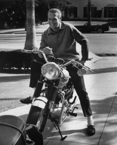 Paul Newman at home with his motorcycle1965 © 1978 David Sutton - Image 0070_2116