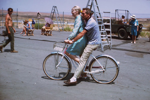"""Paul Newman and Joanne Woodwardon location during the filming of""""Winning,"""" 1968. © 1978 David Sutton - Image 0070_2226"""