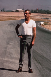 """Paul Newman on location at Riverside Raceway in Calif.for the movie """"Winning,"""" 1968. © 1978 David Sutton  - Image 0070_2286"""