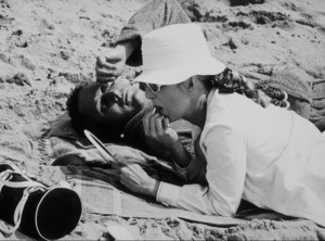 """Paul Newman with wife Joanne Woodwardduring the filming of """"Winning,"""" in Malibu,1968. - Image 0070_2296"""