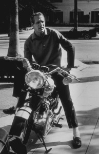 Paul Newman with his motorcycle, 1965. © 1978 David Sutton - Image 0070_2321