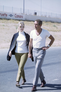 """Paul Newman with wife Joanne Woodward on location at Riverside Raceway in California for the filming of """"Winning""""1968© 1978 David Sutton - Image 0070_2353"""