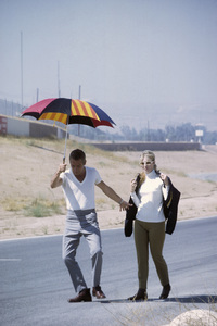 "Paul Newman with wife Joanne Woodward on location at Riverside Raceway in California for the filming of ""Winning""1968© 1978 David Sutton - Image 0070_2354"