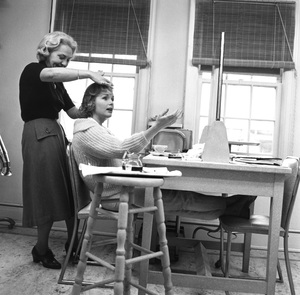 """Debbie Reynolds having her hair done on the set of """"The Pleasure of His Company""""1960 © 1978 Sid Avery - Image 0071_0119"""