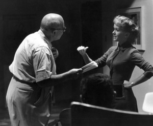 """Debbie Reynolds With the director during rehearsal for herGuest Star spot on """"The Eddie Fisher Show""""NBCCirca 1958 © 1978 Roger Marshutz - Image 0071_1008"""