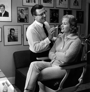 """Debbie Reynolds having her make-up done on the set of """"The Pleasure of His Company""""1960 © 1978 Sid Avery - Image 0071_1031"""
