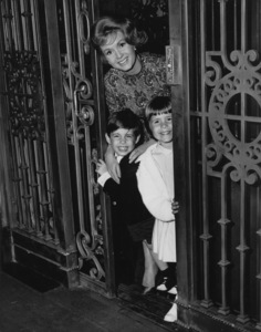 """Debbie Reynolds with daughter Carrie and son Toddon the set of """"Mary, Mary""""Warner Brothers 1963 - Image 0071_1067"""