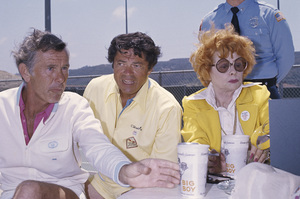 Johnny Carson, host of the Tonight Show, Ross Martin and Lucille Ball at a private tennis club in Los Angeles, California.circa 1975© 1980 Gary Lewis - Image 0072_0770