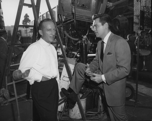 Bing Crosby and Robert Wagner relaxing between takes on the 20th Century Fox lotcirca 1959Photo by Joe Shere - Image 0073_2108
