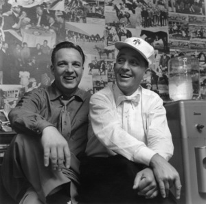 Bing Crosby in his dressing room at Paramount Studios with his brother Bob1955 © 1986 Sid Avery - Image 0074_0001
