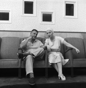"""Director Stanley Kramer and Olivia de Havilland during the making of """"Not as a Stranger""""1954© 1978 Sid Avery - Image 0077_0624"""