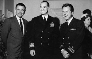 Glenn Ford, Rear Admiral W.P. Mack and Jackie Coopercirca 1961 - Image 0078_0534