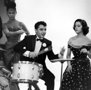 """Sal Mineo playing the drums on the set of """"The Gene Krupa Story""""1959 © 1978 Sid Avery - Image 0083_0210"""