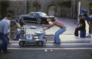 Photographer Sid Avery and son Ron during a Chrysler Cordoba commercial shoot1974© 1978 Sid Avery - Image 0090_1084