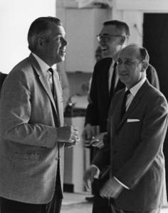 Sid Avery and Bruce McBroom (behind Sid) during the open house for Sid