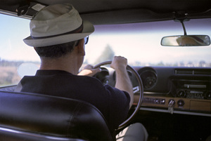 Sid Avery in a 1968 Hurst Oldsmobile driving up the California coast to Monterey (location hunting for a U.S. Steel ad)1968Photo by Pierce Platt© 1978 Sid Avery - Image 0090_1502