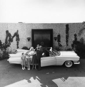 William Castle, Georgianna (niece), Marcia, Terry Ann, wife Ellen, and their 1959 Cadillac1959© 1978 Sid Avery - Image 0127_0003