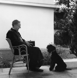 """Cardinal James Francis McIntyre with his Kerry Blue Terrier """"Inky,"""" at his Los Angeles home1953© 1978 Sid Avery - Image 0154_0001"""