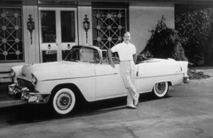 BOB HOPE WITH HIS 1955 CHEVROLET BEL AIR , AT HOME IN TOLUCA LAKE CA*M.W.* - Image 0173_0470