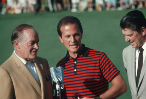 Bob Hope at the Bob Hope Classic Golf Tournament with Pat Boone and Ronald Reagan, 1968. Photo by Lester Nehamkin - Image 0173_0511