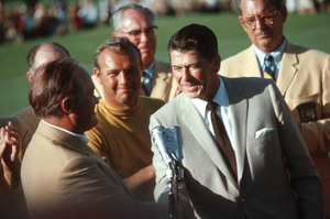 Bob Hope at the Bob Hope Classic Golf Tournament with Arnold Palmer and Ronald Reagan, 1968. Photo by Lester Nehamkin - Image 0173_0512