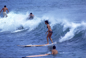 SurfersYoung Woman surfingc. 1968 © 1978 Gunther - Image 0250_0052