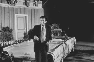 "Efrem Zimbalist, Jr. on the set of ""77 Sunset Strip,"" January 15, 1961. © 1978 Sid Avery MPTV - Image 0286_0088"