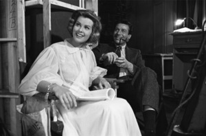 "Efrem Zimbalist Jr. and Janet Lake on the set of ""77 Sunset Strip""  1961© 1978 Sid Avery - Image 0286_0123"