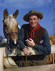 Gregory Peck posing for a Chesterfield cigarette advertisementcirca 1943 © 1978 Paul Hesse - Image 0288_0250