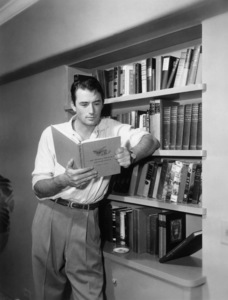 """Gregory Peck reading """"The Personal Finances of Abraham Lincoln""""circa 1950s© 1978 Mel Traxel - Image 0288_0251"""