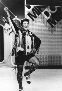 Lee Liberace on a television show in Philadelphia wearing hot pants as he performs for a studio audience1972 - Image 0289_0372