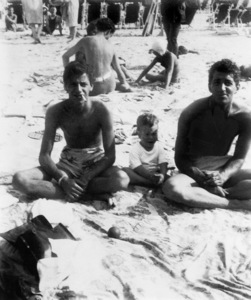 Jerry Lewis (with first son Gary) and Dean Martin on the beach at Atlantic City the year they became a teamcirca 1947** I.V. / M.T. - Image 0292_0608