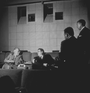 George Stevens and Franky Freeman, Vice-President of Paramount, in a screening room, 1953. © 1978 Sid Avery MPTV - Image 0300_0004