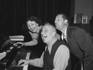 Jimmy Durante with Vera Vague (aka Barbara Jo Allen) and Don Amechecirca 1958Photo by Gabi Rona - Image 0312_0076