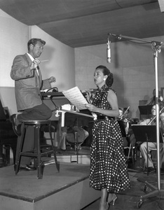Dorothy Lamour and David Roseduring a radio showSeptember 13, 1954 © 1978 Sid Avery - Image 0316_0032