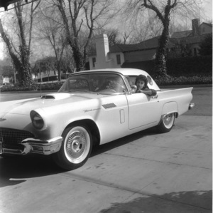 Annette Funicelloin her 1957 Ford Thunderbird at  home in Los AngelesCirca 1957Photo by Joe Shere - Image 0330_0128