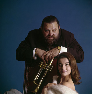 """Ann-Margret and Al Hirt during the album cover photo session for """"Beauty and the Beard""""1964© 1998 Ken Whitmore - Image 0332_0289"""