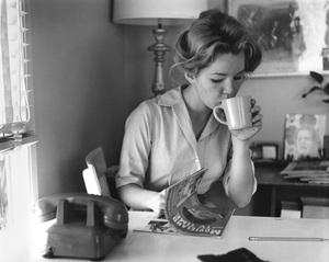 Tuesday Weld reading Movieland Magazine at breakfastcirca 1960Photo by Joe Shere - Image 0335_0361
