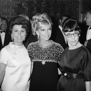 """Nancy Sinatra Jr., with her mother, Nancy Sinatra Sr., and Edith Head, at the premiere of """"Rosie!""""1967** J.C.C. - Image 0336_0214"""