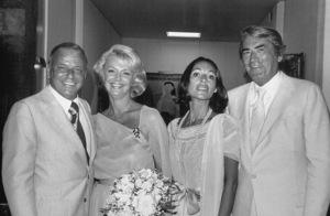 Frank Sinatra, Barbara Marx, Gregory Peck and wife Veronique Passani at Sinatra