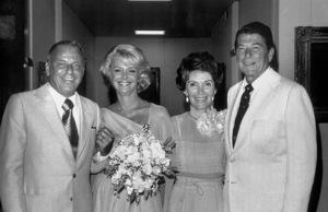 Frank Sinatra, Barbara Marx, Nancy and Ronald Reagan on Sinatra and Marx