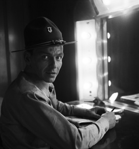 "Frank Sinatra in his dressing room during the making of ""From Here to Eternity""1953 © 1978 Bob Willoughby - Image 0337_1001"