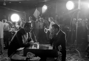 """Jack Entratter (director of the Sands Hotel) and Frank Sinatra have a serious talk while the camera crew for the film """"Pepe"""" is setting up1960 © 1978 Bob Willoughby - Image 0337_1280"""
