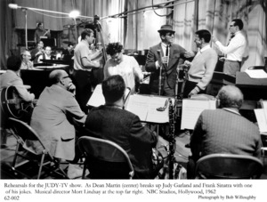 """Judy"" TV ShowJudy Garland, Dean Martin & Frank Sinatra during rehearsal. 1962 © 1978 Bob Willoughby - Image 0337_1694"