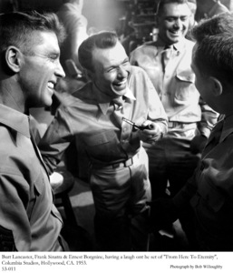 """""""From Here To Eternity""""Burt Lancaster, Frank Sinatra & Ernest Borgnine on the set. 1953 © 1978 Bob Willoughby - Image 0337_1706"""