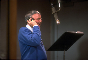 """Frank Sinatra at the Reprise recording session of """"L.A. Is My Lady"""" / A&R Studios, New York / 1984 © 1984 Ed Thrasher - Image 0337_1977"""